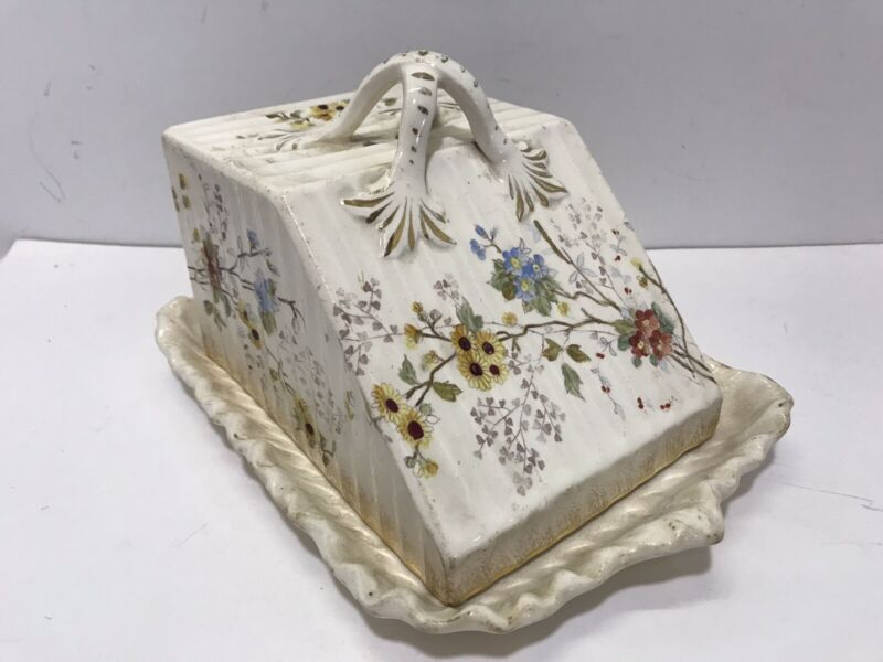 Antique 1890 Ivory Ironstone Porcelain Floral Cheese Dome Butter Dish Plate Lid