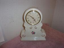 Vintage Paul Sebastian White With Floral Design Quartz Movement Porcelain Mantle Clock* 8 T X 5.5 W At Base*