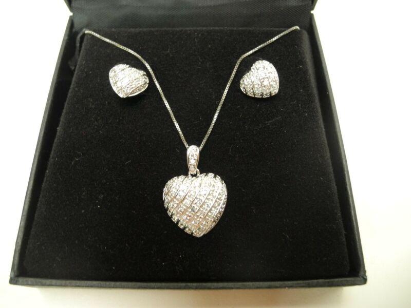 Vintage Carole Little 925 Sterling Heart Pendant Chain Necklace Earrings Set