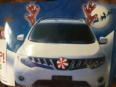 LED Lighted Antlers Red Nose Rudolph Reindeer Car Truck Christmas - Rudolph Antlers
