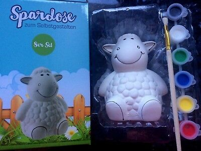 Spardose Schaf zum bemalen selbst gestalten ab 3 Jahre komplett 6 Farben Pinsel