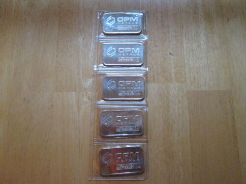 RARE LOT 5 - 1 TROY OZ. O P M  METALS .999 FINE SILVER BARS MADE IN OHIO USA