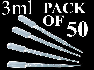 BAG OF 50 PLASTIC CLEAR PASTEUR PIPETTES LIQUID DROPPER 3 ML GRADUATED