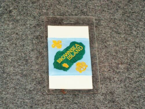 WORLD SCOUTING PATCH…BROWNSEA ISLAND…BOY SCOUTS & GIRL GUIDES...LAMINATED