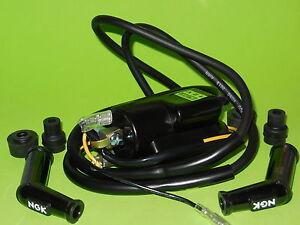 1x new Kawasaki KZ400 KZ440 Z1 KZ650 KZ750 KZ900 4 Ohm Ignition coil & plug caps