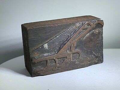 Antique Stereotype Copper Wood Printing Block Bateman Mfg Iron Age Cultivator