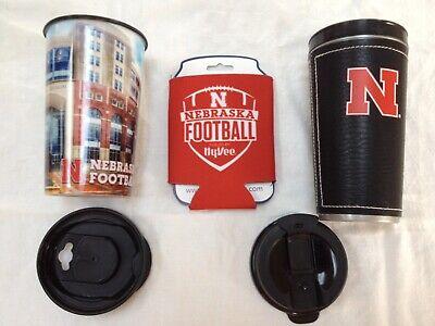 (Two Nebraska Hot Beverage Travel Mugs and 1 Can Koozie)