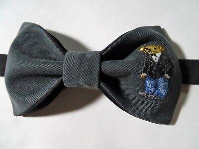NEW Mens Preppy Bear Bow tie Custom Grey/Black  Pre Tied Adjustable Wedding Tie  Black Tie Bow Tie