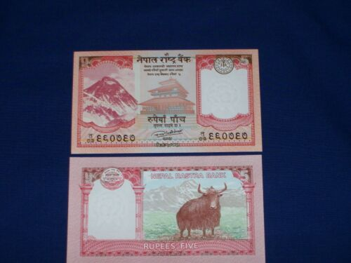 Bundle of 25 pcs Bank Notes from Nepal 5 Rupees Uncirculated