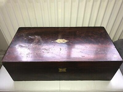 Antique Wooden Oak And Brass Inlaid Writing Slope Large 50cmx25x16cm