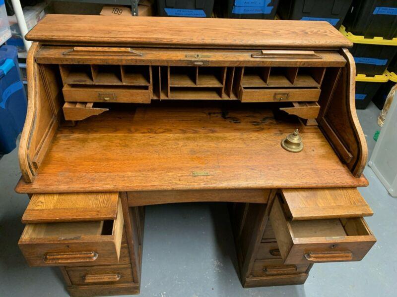Early 1900s English Antique Oak Roll Top Desk - London, Chelsea Auction