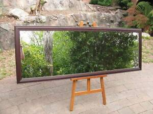 Large Full Length Wall Mirror Dark Walnut Stained Frame 202x73cm