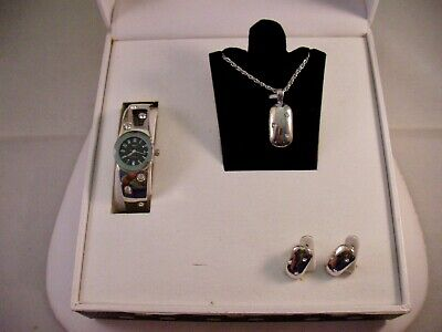 - Ashley Princess Choice Silver Jewelry Set Watch Necklace Earrings Crystal Accent