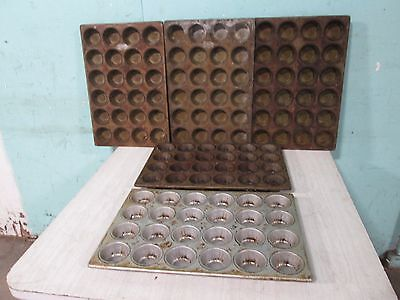 Lot Of 5 Assorted H.d. Commercial Small Muffincup Cake Steel Baking Pans