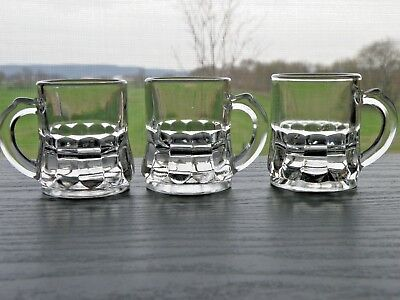 Set of 3 Federal Glass Clear Mini Beer Mug Shot Glasses F in Shield Bottom (Mini Beer Shot Glasses)
