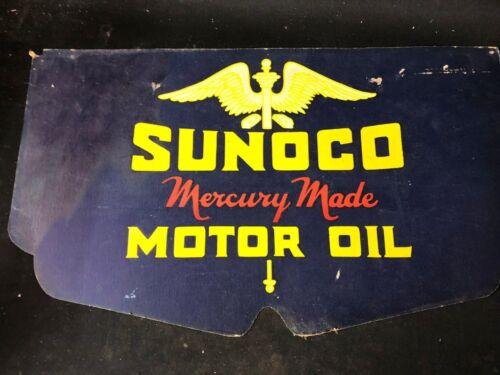 VINTAGE SUNOCO BLUE MOTOR OIL CARDBOARD SIGN