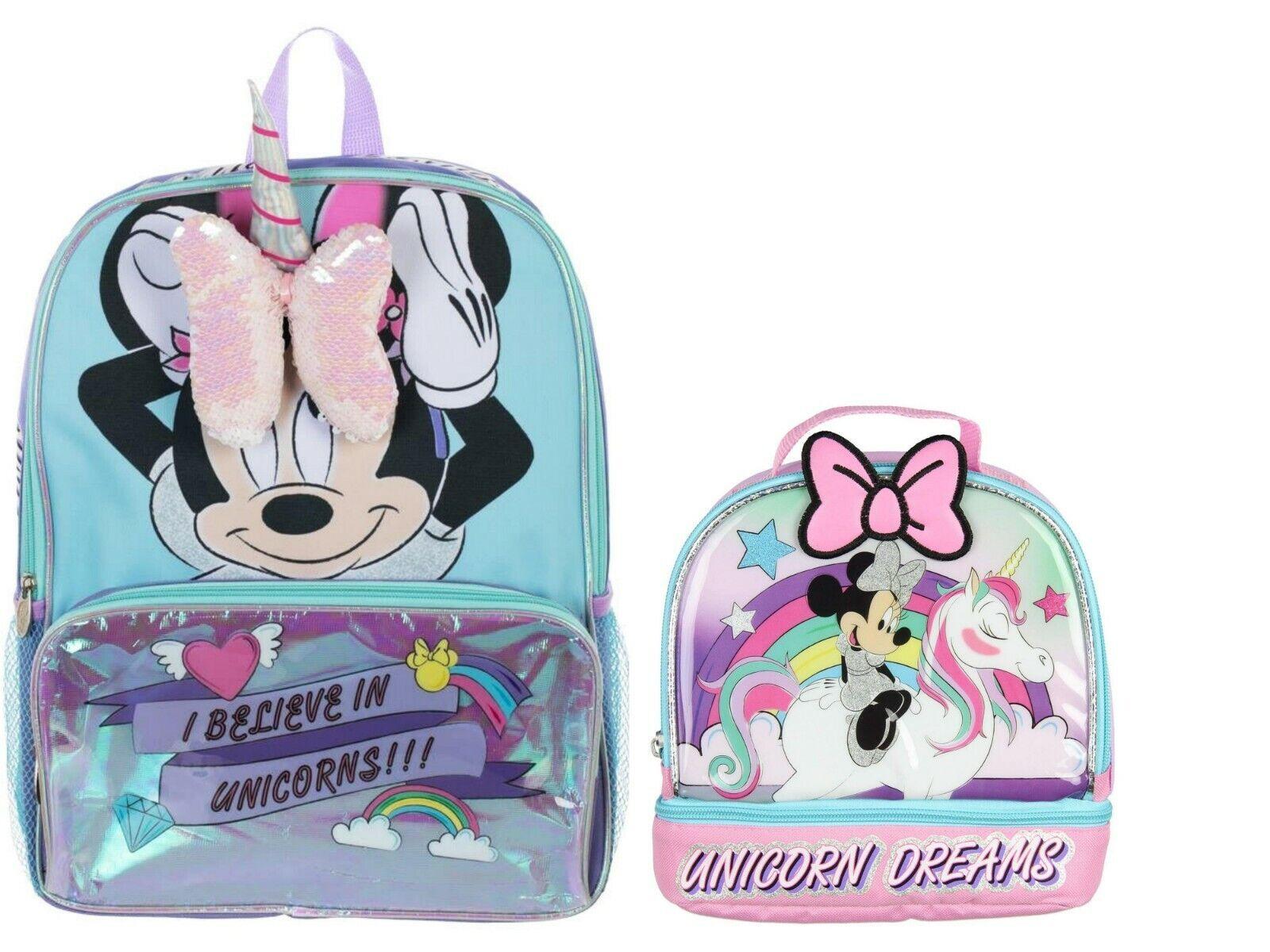 Disney Minnie Mouse Unicorn Girls School Backpack Lunch box