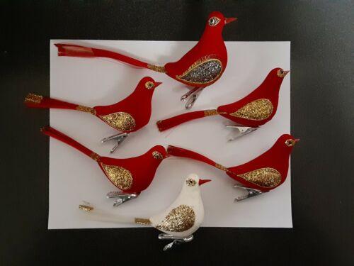 6 Vintage Japan Christmas Ornaments Clip on Birds Felt Red Flocked Glitter