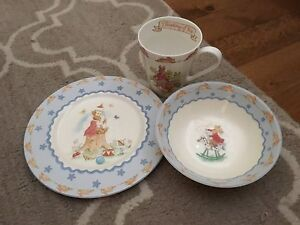 Royal Doulton Bunnykins Blue Bowl, Plate & Cup,