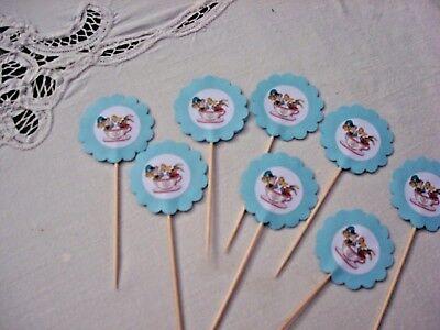Alice In Wonderland Cupcake Picks; Mad Hatter Theme Cupcake Picks;Shower Decor  (Mad Hatter Baby Shower)