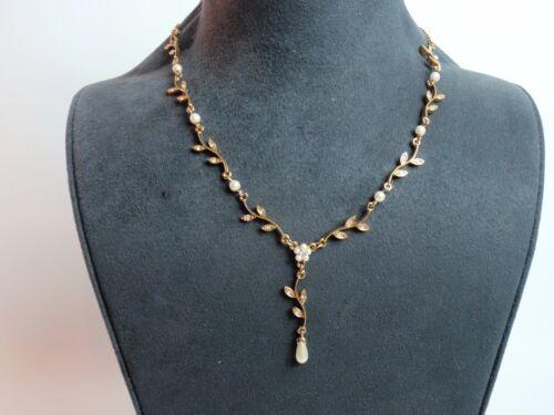 Nina Ricci Nancy & Rise Avon Necklace Twig Branches Faux Pearl Drop Center 1980s