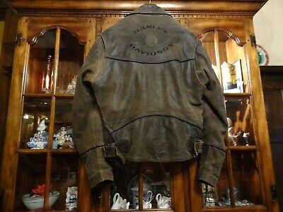 HARLEY DAVIDSON BILLINGS LEATHER JACKET DISTRESSED BROWN MEN'S MEDIUM for sale  Shipping to India