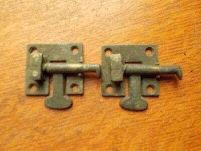 Two Antique Cast Brass Cabinet Latches Flush Mount - c1900