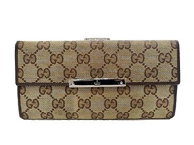 Authentic GUCCI GG Canvas Trifold Long Wallet Vintage