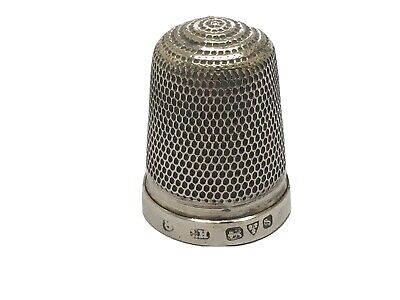 Super Solid Silver Thimble by Charles Horner Chester 1915 (Size 8)