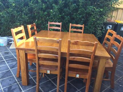 8 Seater Timber Dining Table and Chairs Elderslie Camden Area Preview