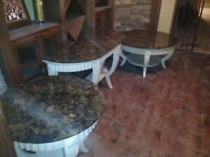 Solid Wood & Granite Coffee Table, Credenza & Side Table