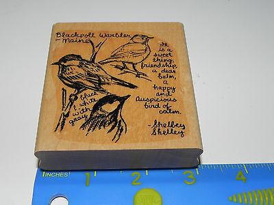 Stampin Up Rubber Stamp Blackpoll Warbler Maine Bird Friendship Quote Sketch Art