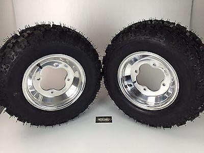 (NEW Honda TRX450R TRX400EX Polished Aluminum Front Rims & MASSFX Tires Wheels)
