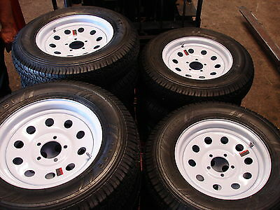 "4- 15"" 5 Lug Utility Boat Trailer Wheels 5x4.5 White Mod 225/75/15 Tires  225B"