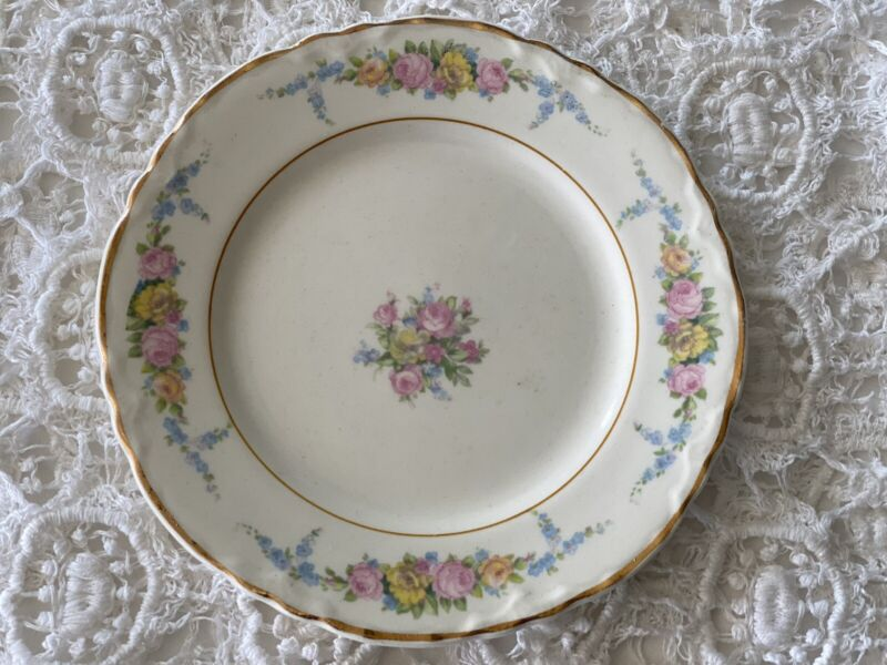 6 Vintage W.S. George Radisson Floral Gold Rim Appetizer Dessert Plates Cottage