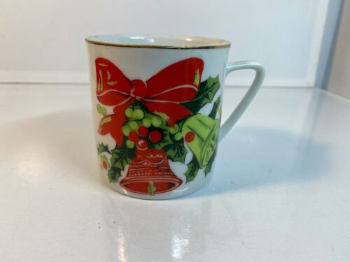 Christmas Bells Coffee Cup Vintage Lefton Hand Painted China 1303