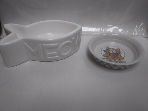 Set Of FF & CO Ceramic Pet Food & Water Bowls For Cats