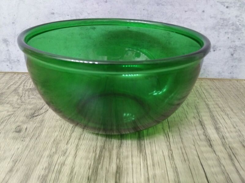 """Vintage Anchor Hocking Forest Green Glass 1 Quart 6"""" Mixing Bowl"""