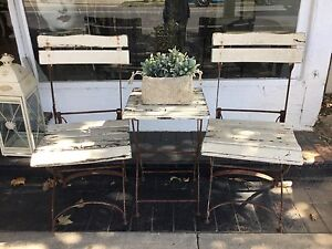 3 Piece Timber Slat Foldable French Style Vintage Outdoor Setting Richmond Hawkesbury Area Preview