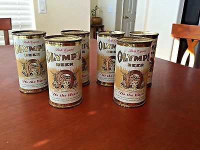 Rare Olympia Beer Flat Top Beer Cans 6 Pack W  Matching Numbers 11 Oz