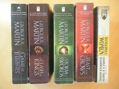 GEORGE RR MARTIN 5 Book Lot GAME OF THRONES Song of Ice & Fire + DANGEROUS WOMEN