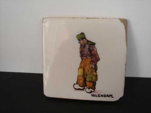 "Vintage Dutch tile Hand painted Polychrome ""Volendam"" Edge Chips 3X3 Inches"