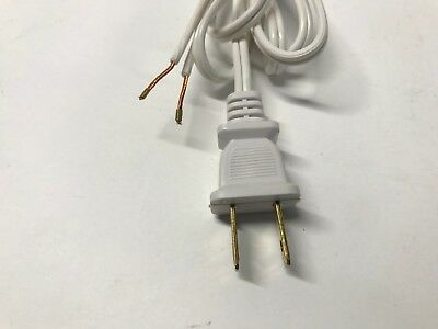 2 Two Lamp (NEW 18/2 White Replacement Lamp Cord w/ Two-Prong Plug End 8')
