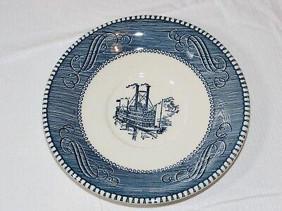 "Vintage Currier & Ives Paddle Wheel Riverboat Blue White Saucer 6 3/8"" USA stmp~"