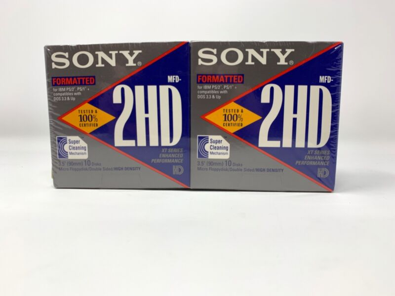 Sony 2HD 3.5 Floppy Disks: Formatted IBM 2-10 Packs NEW SEALED