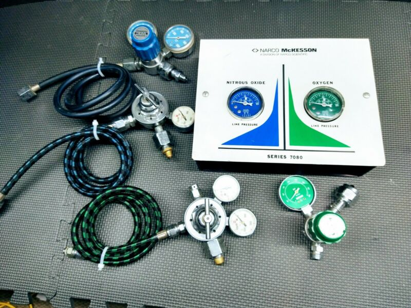 McKesson Series 7080 Dental Nitrous Oxide/Oxygen  Manifold,Veriflo - US Gauge