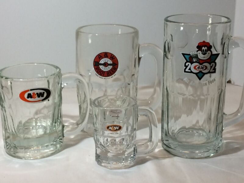 4 A&W Vintage mug glass special edition Grandpa Burger 1 With Bullet Design EUC