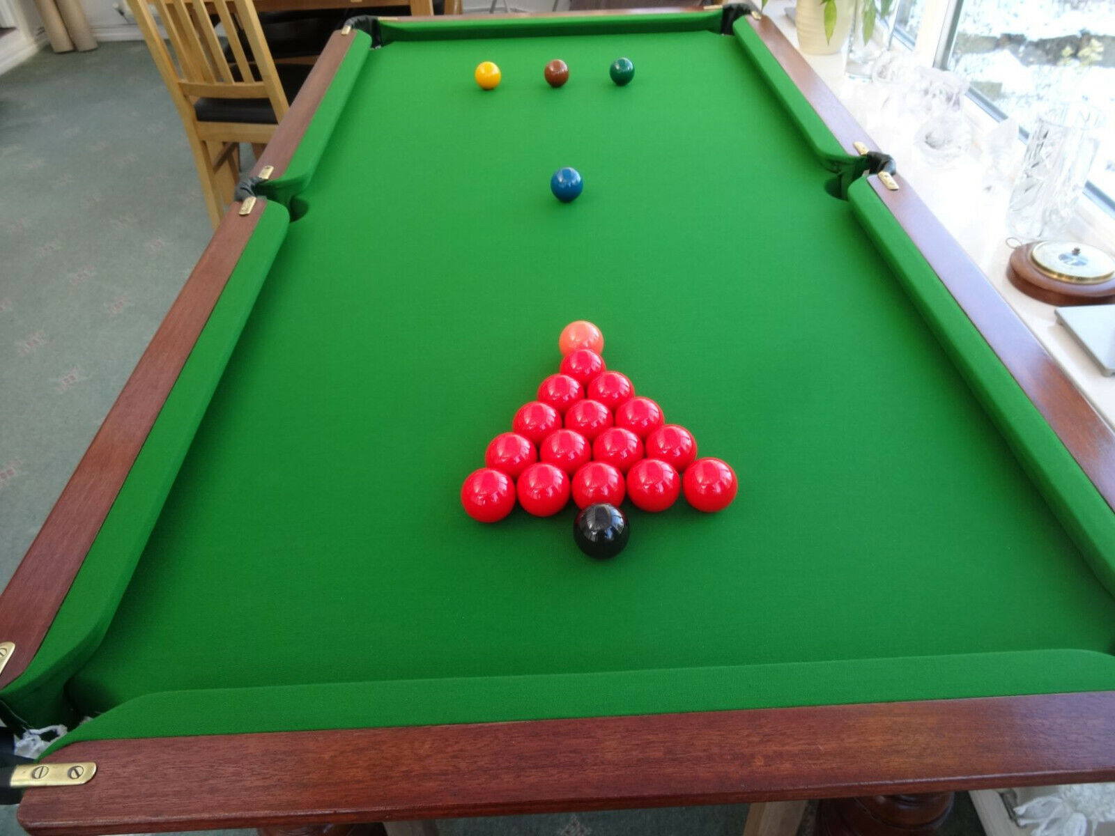 Vintage Slate Bed Snooker Table E A Clare and Son Liverpool, New Hainsworth Cloth