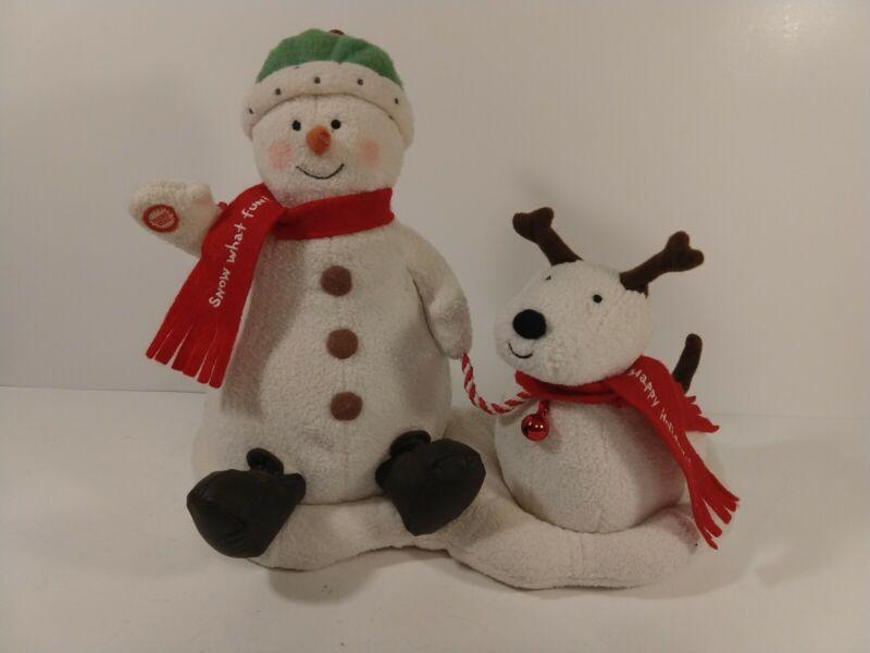 2004 Hallmark Animated Singing- Snowman and Barking Dog Jingle Pals Duo