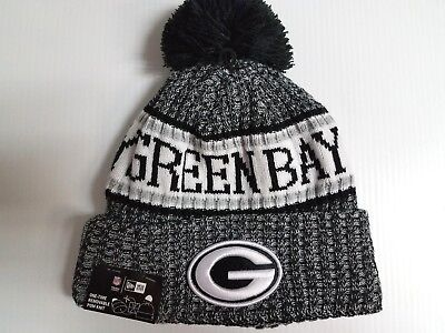 Green Bay Packers New Era Knit Hat Black 2018 Sideline Beanie Stocking Cap for sale  Shipping to Canada